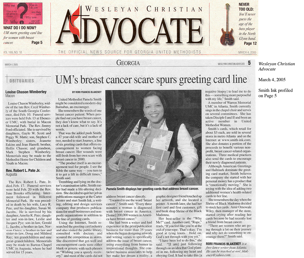 Advocate article on Smith Ink Cards