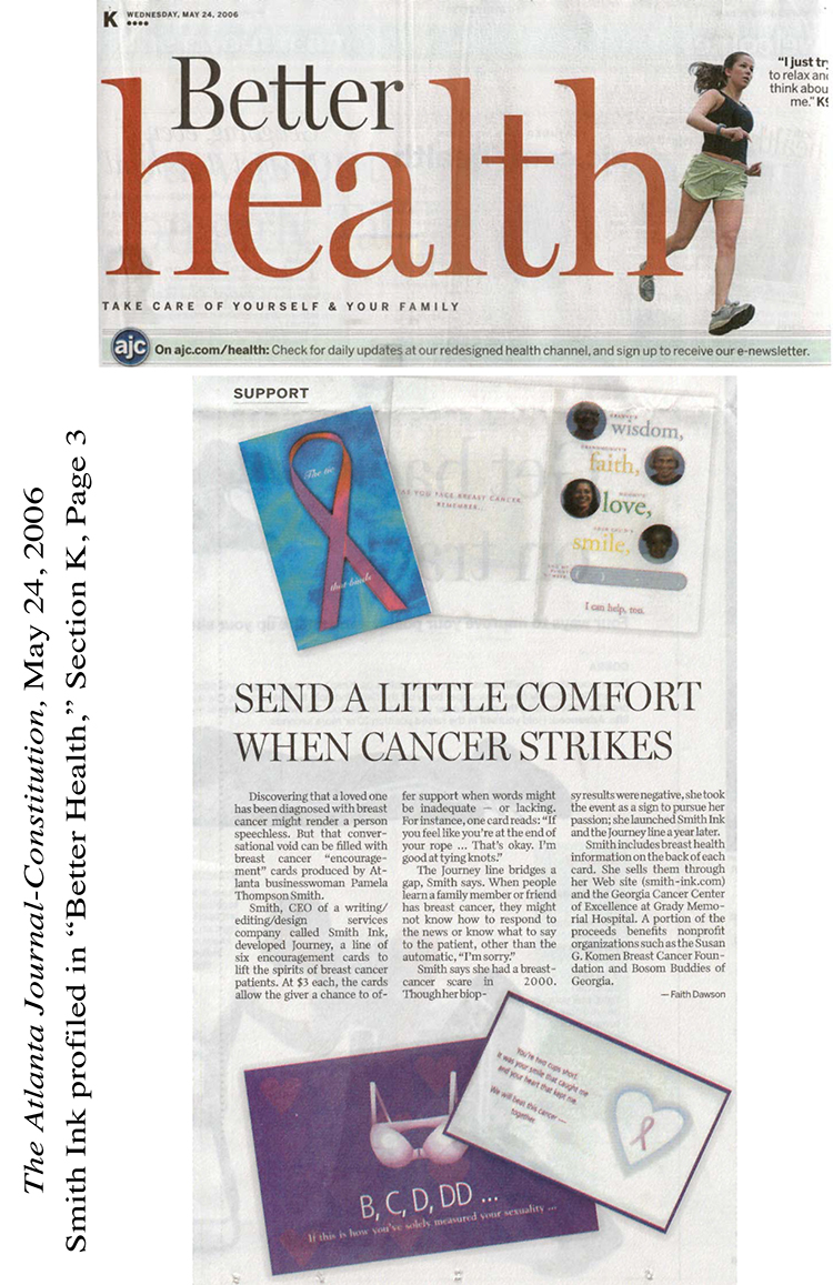 AJC Better Health Article. Smith Ink Cards